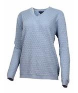 Tommy Hilfiger Womens V-Neck Cable Knit Sweater Denim Blue Sz L - $33.45