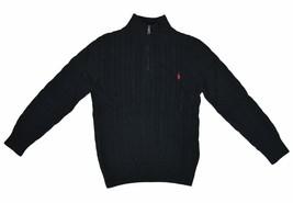 Lauren Ralph Lauren Boy's Cable Knit Zip Mock Neck Sweater, Black, S(8),... - $59.39