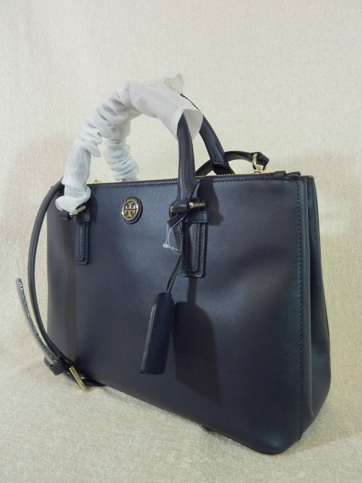 Tory Burch Navy Blue Saffiano Leather Robinson Mini Double-Zip Tote $495 image 6