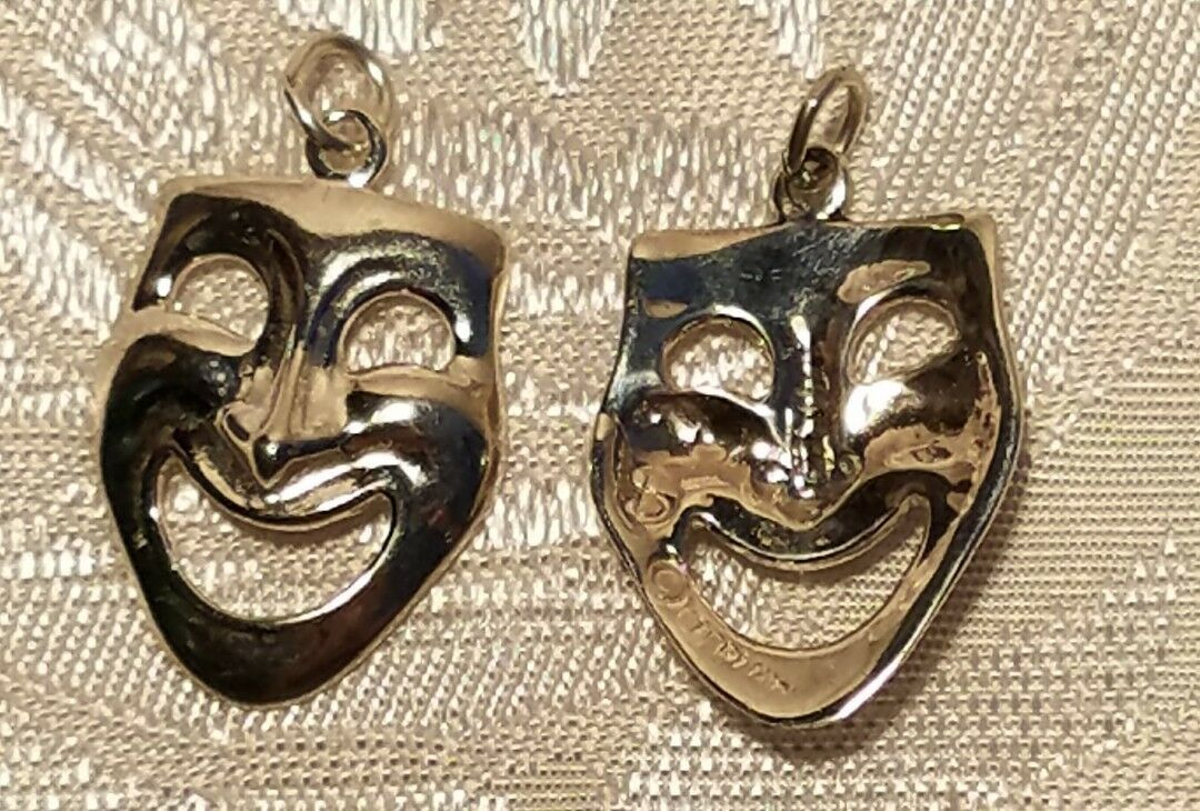 Drama Mask Happy Face sterling silver charm .925 Comedy Acting charms 25x15mm