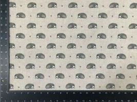 Vintage Hedgehog Beige Grey Linen Look High Quality Fabric Material 3 Sizes - $7.64+