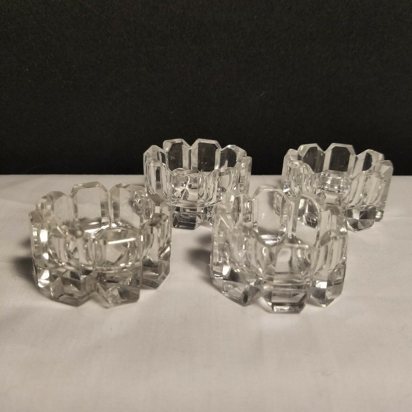 American Brilliant Period Arched Beveled Top Block Cut Open Salts Set of 4 Clear - $18.95