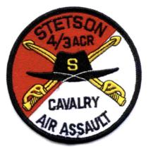 "3.5"" ARMY 4TH BATTALION 3RD AVIATION CAVALRY REGIMENT STETSON EMBROIDERE... - $17.14"