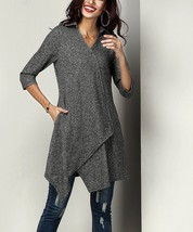 NWT French Terry Collared Asymmetrical Hem Knit Tunic - Size L see measu... - $38.79
