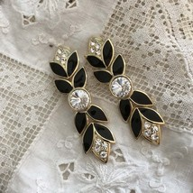 Vintage 80s Glam  Bijoux NY Rhinestone Enamel Runway Earrings - $40.00