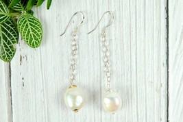 Modern Pearl Chained Earrings, Fresh Water Pearl Drop Earrings, Sterling... - $14.99