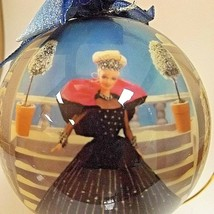 """Barbie 1998 Holiday Ornament 4"""" Decoupage Round + Wooden Stand & Tag Mattel - $4.99"""