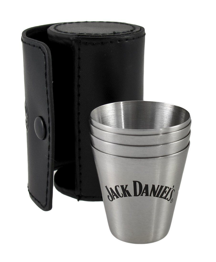 Primary image for Jack Daniel's Metal Shot Glass Travel Set of 4 Plus Leather Case