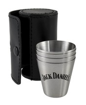 Jack Daniel's Metal Shot Glass Travel Set of 4 Plus Leather Case - $27.71
