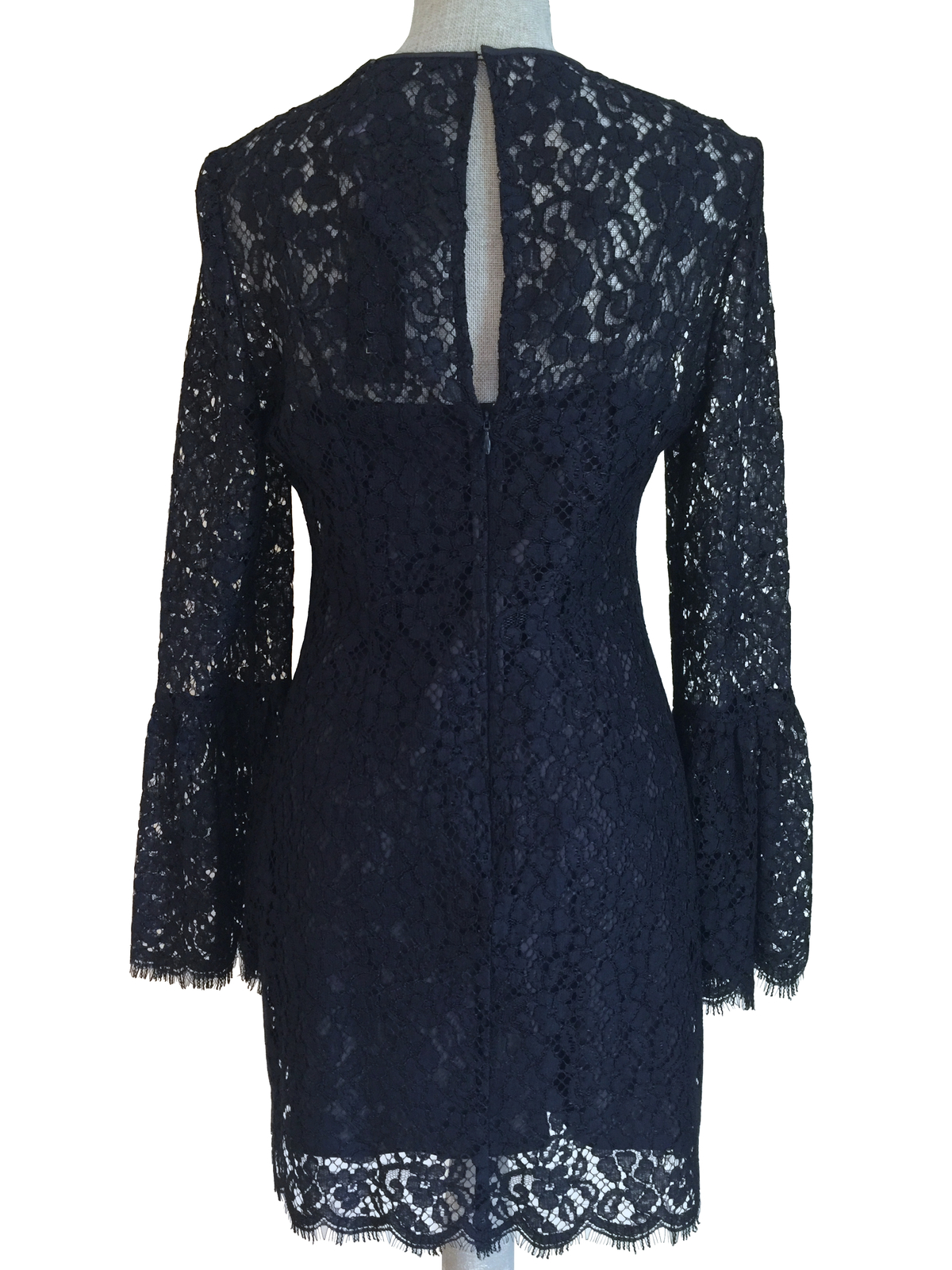 05fedf1db3b NWT  395 RACHEL ZOE Carter Navy Blue Bell Sleeve Lace Mini Shift Sheath  Dress 6