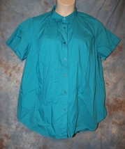 Womens Blue Woman Within Short Sleeve Shirt Size 1X excellent - $7.91