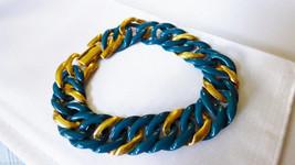 """NAPIER GOLD TONE METAL BLUE ENAMEL CURB LINK BRACELET 7.75"""" L - $35.64"""