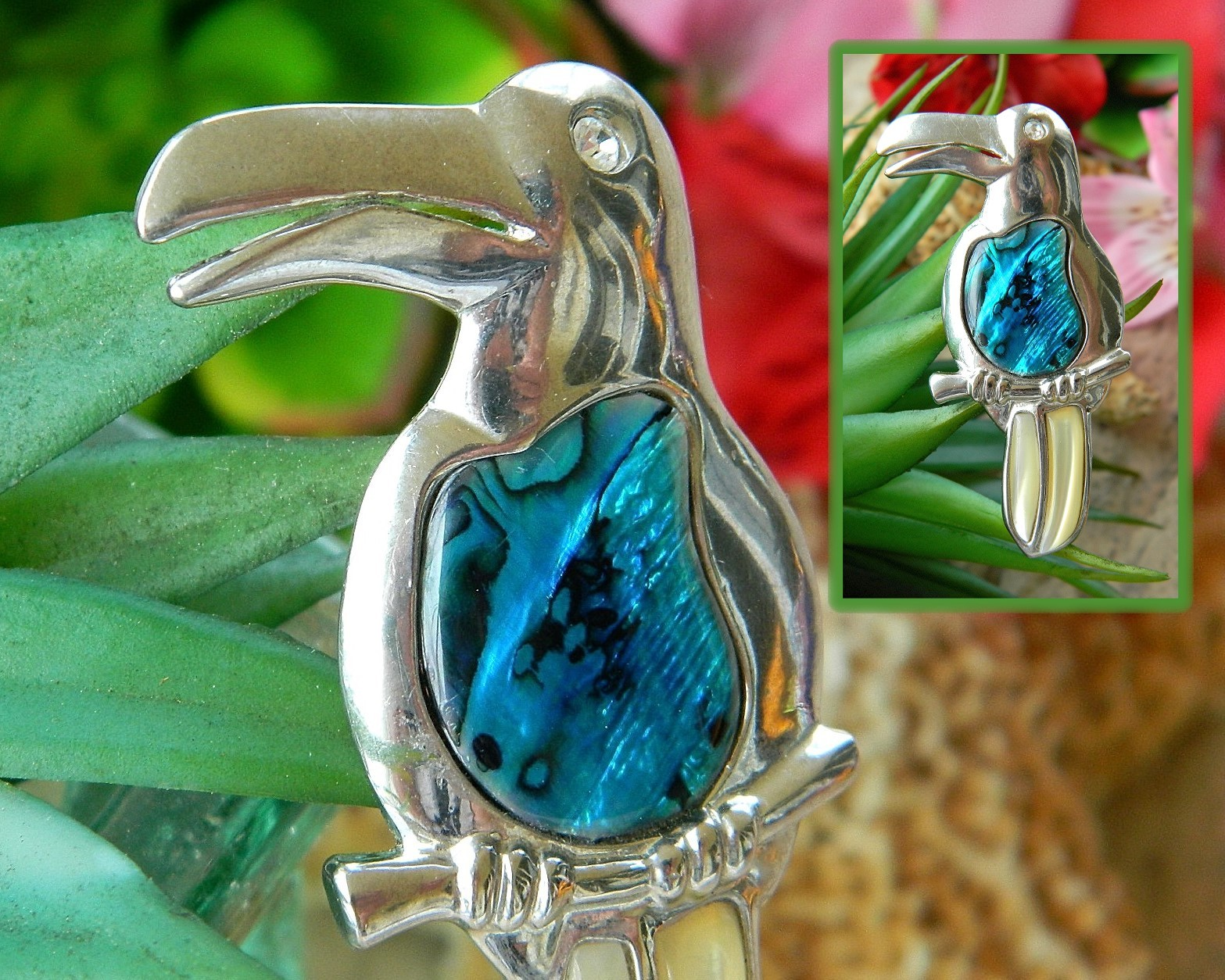 Vintage Toucan Tropical Bird Brooch Pin Abalone Jelly Belly Figural