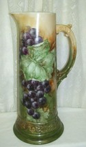 Antique Grapes and Ivy Tankard Pitcher 14.25 inches high - $134.63