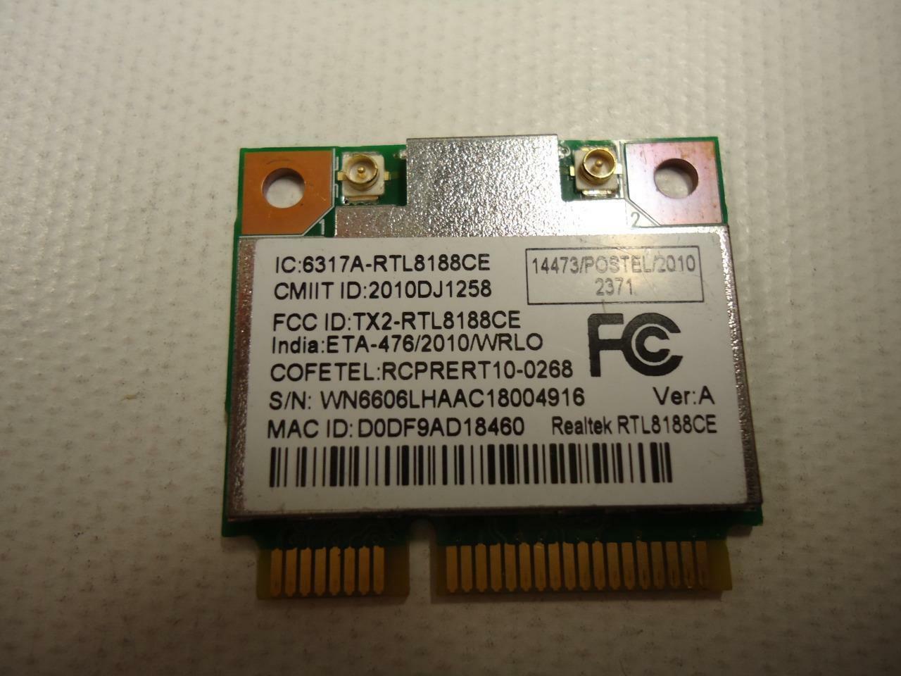 Realtek RTL8188CE 802.11b/g/n Wireless Half Mini Card WN6606LH Lenovo Thinkpad
