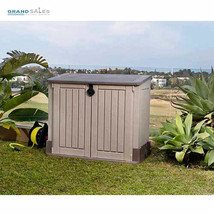 Plastic Storage Shed Outdoor Garden Organizer Patio Deck Box Small Garag... - $159.38