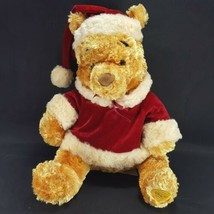 Disney Store Plush Winnie the Pooh Traditions Christmas Holiday Santa Re... - $19.79