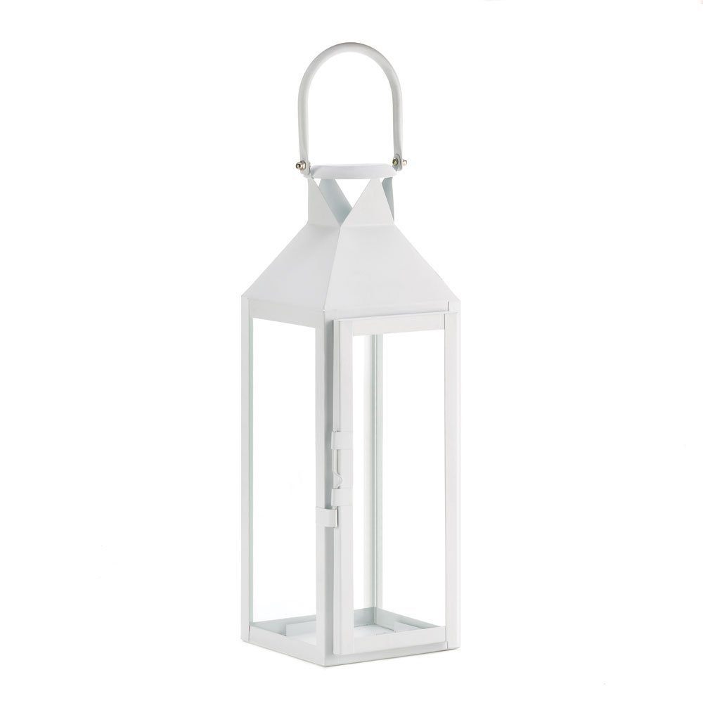 White Lanterns Candle, Decorative Wrought Outdoor Metal Candle Lanterns