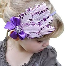 Beautiful Baby Girl Headband Cute Feather Apparel Accessory Purple (1~4Y)