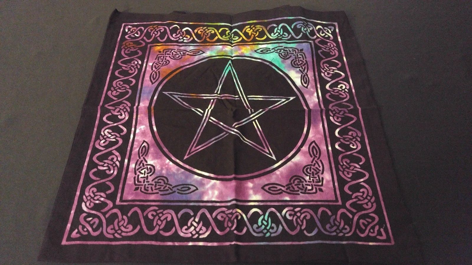 "Primary image for 18"" x 18"" PENTACLE STAR Hippie Tie Dye Cotton Cloth HENNA ARTIST TOTE BAG ~India"