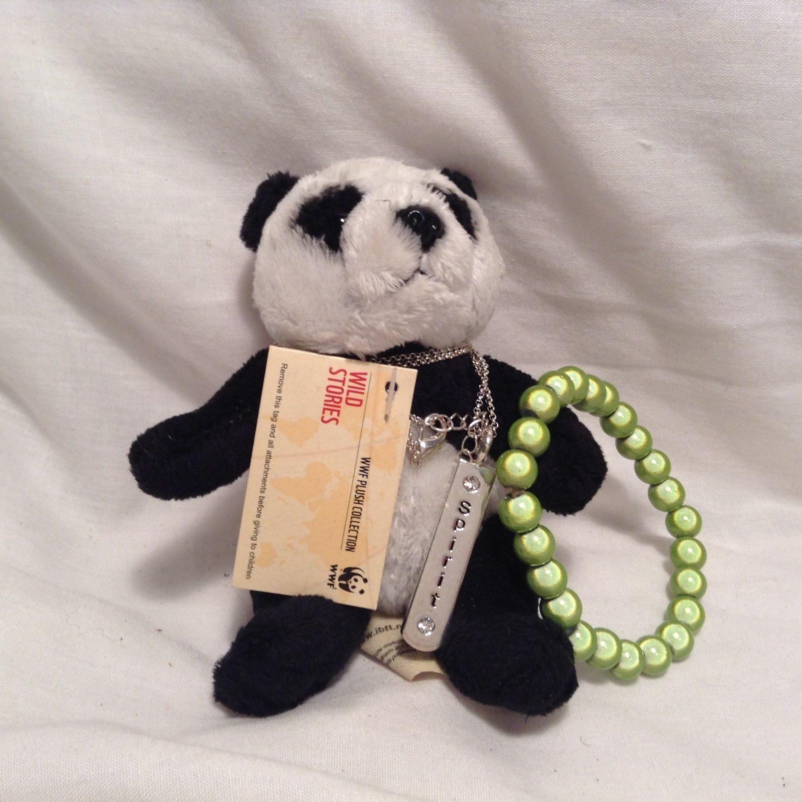 NEW WWE Plush Panda w Necklace and Green Beaded 'Miracle' Bracelet