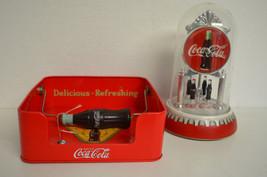 COCA-COLA Co. Anniversary Clock & COCA-COLA Napkin Holder W COCA-COLA Bottles - $11.88