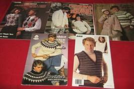 5 Vtg Crochet Knit Pamphlets Mens Womans Sweaters Vests Nordic Fisherman... - $12.86
