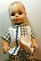 "14"" Eegee Goldberger Softina Baby Doll Vintage molded Hair Blue Eyes Drink Wet - $24.75"