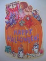 Vintage Hallmark Halloween DieCut Decoration Pumpkin Mice Raccoon Squirr... - $9.99