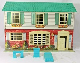 Vintage WOLVERINE Tin Litho Doll House Dollhouse Some Original Furniture - $44.55
