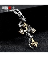 Steel soldier drop shipping cross dragon pendant necklace stainless stee... - $12.90