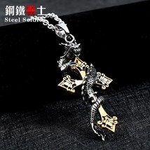 Teel soldier drop shipping cross dragon pendant necklace stainless steel 3d men jewelry thumb200