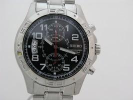 Seiko men watch 7T94 chronograph black dial SNN103 - $122.76