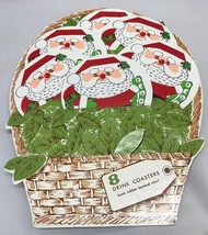 Vintage H.J. Stotter 6 of 8 Coasters Santas in Basket Foam Rubber Back V... - $17.61