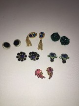 Vintage lot of 6 Clip On earrings Costume Jewelry - $53.22