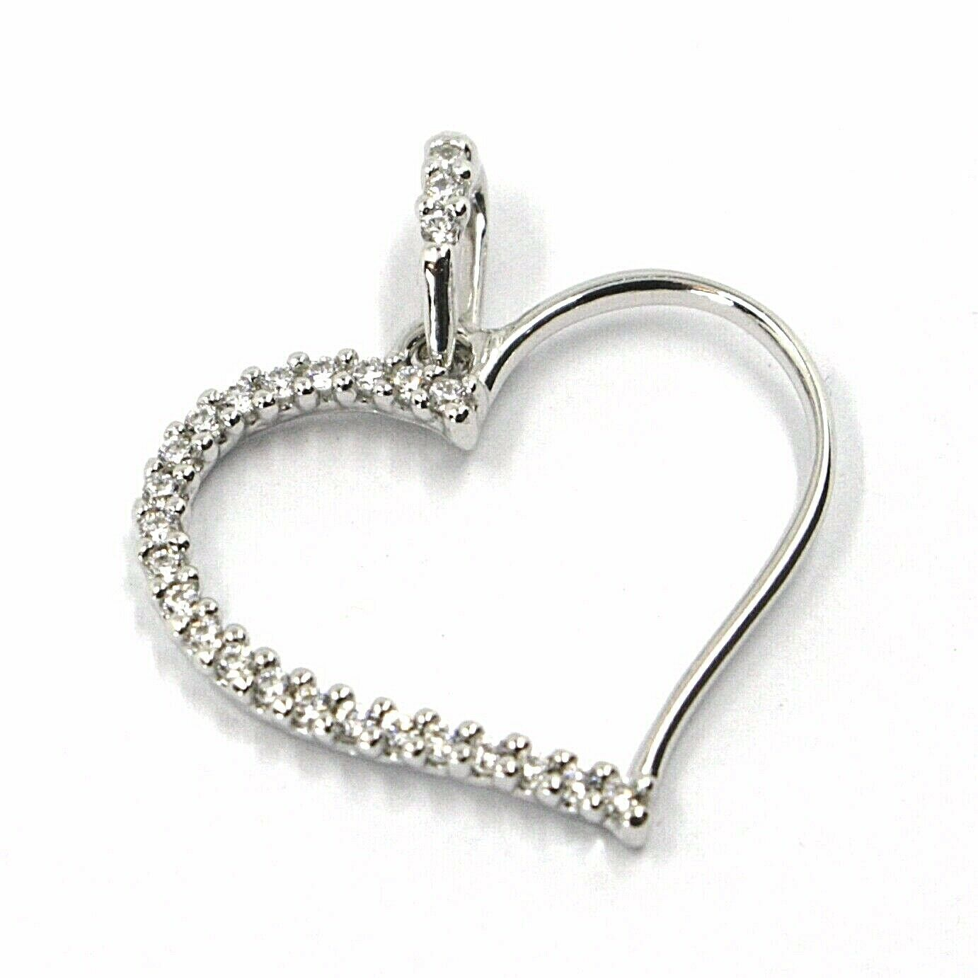 SOLID 18K WHITE GOLD PENDANT HEART WITH CUBIC ZIRCONIA, 16mm, 0.63 inches