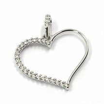 SOLID 18K WHITE GOLD PENDANT HEART WITH CUBIC ZIRCONIA, 16mm, 0.63 inches image 1