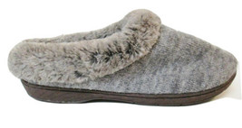 Dearfoams Slippers Sz Small (5/6) Heather Gray Grey EUC Fur Trim Slipper Shoes - $10.99