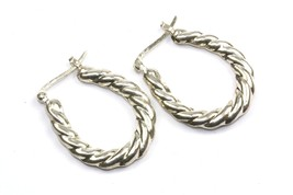VTG RETRO OVAL HOOP TWISTED ROPE EARRINGS 925 STERLING ER 164 - $20.24