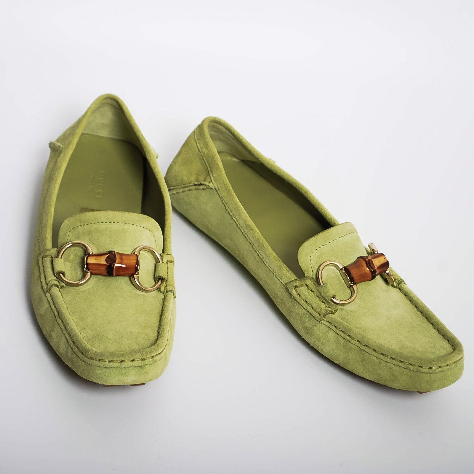 e6a8e4d3b GUCCI Women's Green Suede Moccasins Flat and 50 similar items