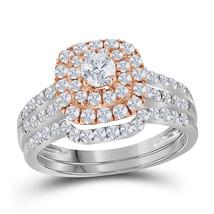 14k White Gold Round Diamond Bridal Wedding Engagement Ring Band Set 1-1/5 Ctw - $1,499.00