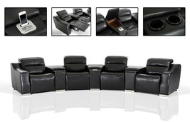 VIG Divani Casa Salem Modern Black Eco-Leather Recliner Sectional w/Audi... - $3,399.00