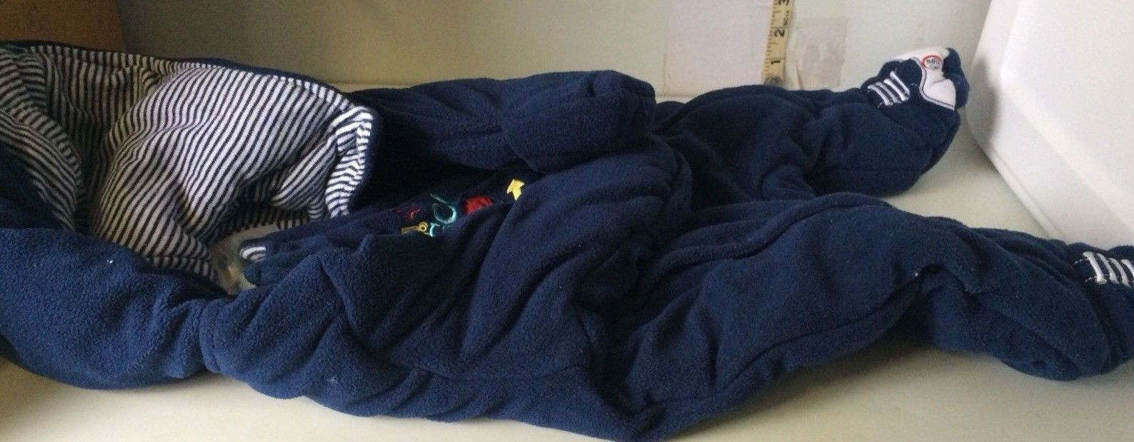 Disney Full Length footed Fleece 0-3 Months Blue 1 pc 95 Sleeper Hood (bin #109)