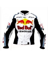 KAWASAKI RED BULL WHITE REAL COWHIDE MOTORCYCLE RACING LEATHER JACKET AL... - $139.00