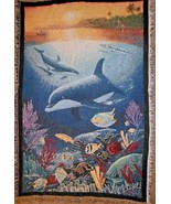 Wyland Sea Life Tapestry Throw Blanket Dolphin Fish Blue Ocean - $48.48