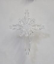 Roman 23886 Plastic Clear Snowflake Cross 4 Inch Christmas Tree Ornament 8 Set image 2