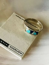 Estate Marianna Richard Sterling Silver Band w Turquoise & Opal Mosaic R... - $66.24