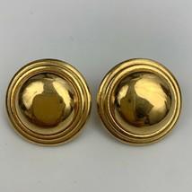 Liz Claiborne Round Pierced Earrings Vintage Shiny Gold Tone Signed Designer - $14.80