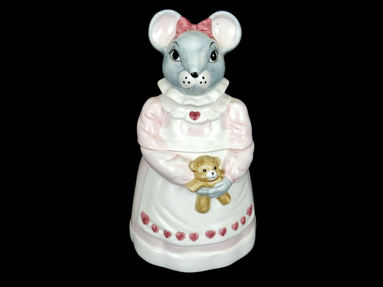 "Primary image for ""Melinda Mouse"" Porcelain Cookie Jar, 1990 House of Lloyds, Teddy Bear & Hearts"