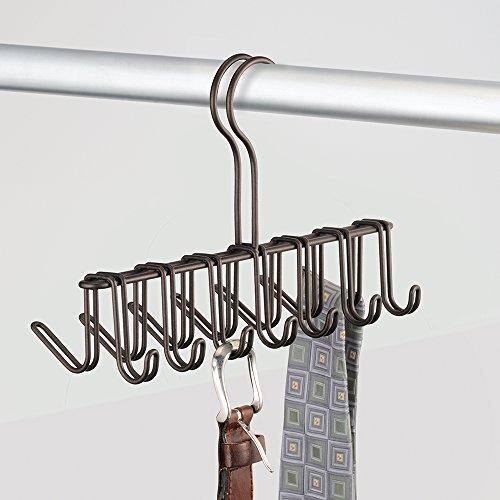 InterDesign Classico Vertical Closet Organizer Rack for Ties, Belts - Bronze